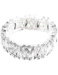 Schmuckanthony Glamour Hochzeit Brautschmuck Armband Blätter Blumen Kristall Klar 2,2cm breit