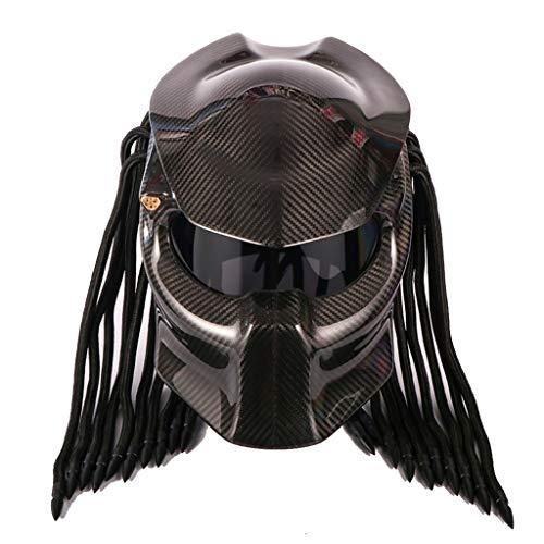 Wcx Casco per motociclisti Predator Maschera a pieno facciale in fibra di carbonio Iron Man Trecce a frange LED light - incl. ECE Approved (dimensioni : XL61-62CM)
