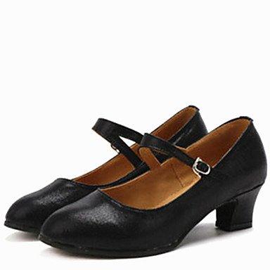 Silence @ latine Chaussures de danse pour femme talons en similicuir Talon bas Doré/argenté/noir/rouge doré