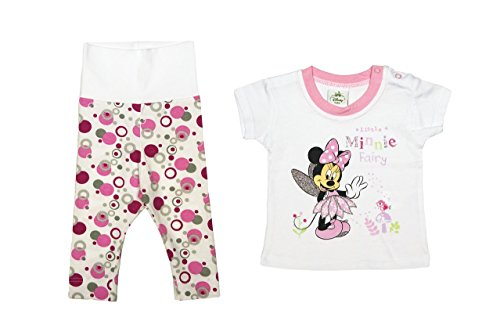 (Disney Minnie Mouse Mädchen Baby-Set 2-Teilig in Grösse 56, 62, 68, 74, 80, T-Shirt KURZÄRMLIG mit Langer Hose, Baby-Schlafanzug, Spiel-Anzug, Ideal für Freizeit Oder Strand Farbe Weiss, Größe 80)
