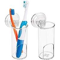 mDesign Juego de 2 portacepillos de dientes con ventosa – Gran soporte para cepillo de dientes