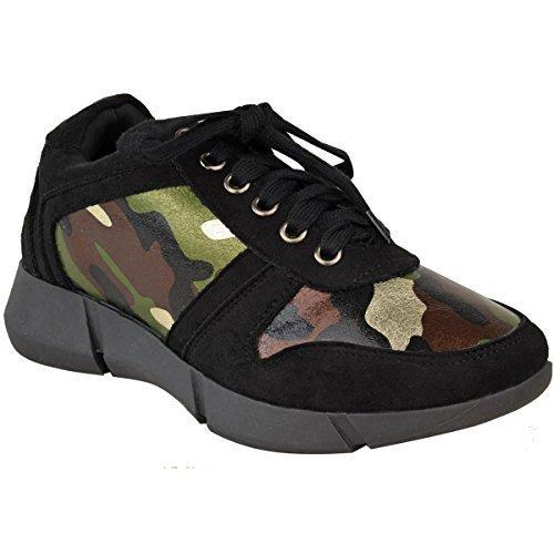 Neuf Pour Femmes Lacet Plat Baskets Sport Mode Gym Chaussures Pointure Noire En Faux Daim / Camouflage