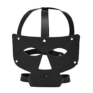 YeahiBaby SM Augenbinde Fetisch PU Augenmaske Verstellbare Flirtenfesseln Maskenhaube für Paare Liebhaber