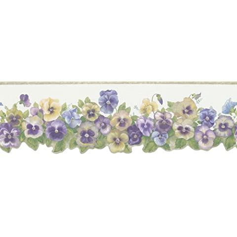 Brewster 418B085 Borders and More Pansy Trail Die-Cut Wall Border, 6.3125-Inch by 180-Inch by Brewster