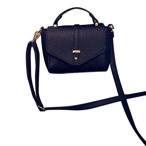 Cuoio di modo delle donne della borsa a tracolla a spalla,Fami (nero)