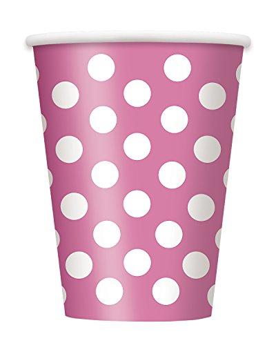 6 vasos de papel rosa blanca Lunares Lunares spot - 355 ml