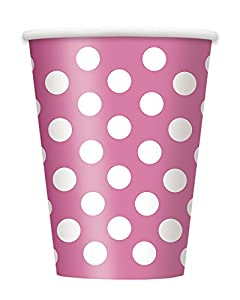 Unique Party- Paquete de 6 vasos de papel a lunares, Color rosa oscuro, 37486)