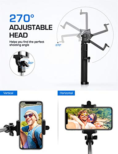 b14d88ff1c8 Mpow iSnap PRO X - Palo extensible Bluetooth portátil antideslizante Universal  para Selfie con disparador integrado y Correa
