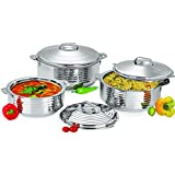 National Stainless Steel Insulated Casserole 3 Piece Gift Set-1000/1500/2500 ML, Silver With Unique Step Design