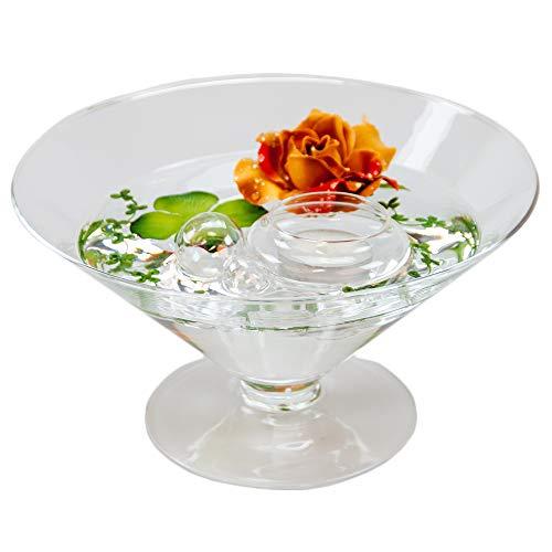 kegelförmige rond Bol en verre conique Grande Hauteur 12 cm Ø 22 cm plat bol verre sur pied avec décoration rose marron de décoration rouge/bol de verre roi