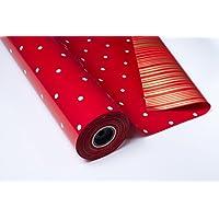 PAKOT S.A Bobina Papel DE Regalo 70CMX100M DE Luxe Doble Cara Rojo/Topo Blanco - Oro