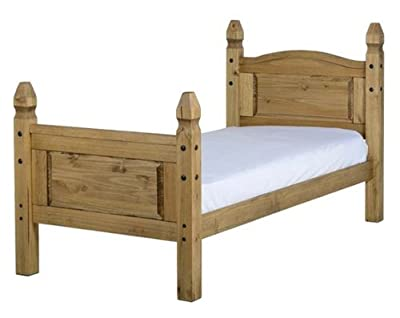 WorldStores Corona Bed Frame - Mexican Inspired Design High Foot End - Pine - Single produced by Amani International - quick delivery from UK.