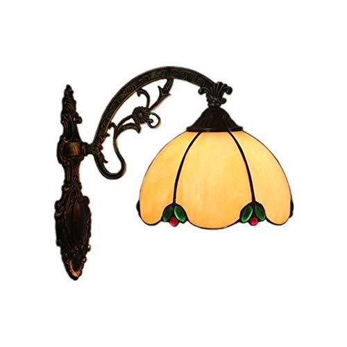 Tiffany Wandlampe/Schüssel-Förmigen Lampenschirm Durchmesser 8 Zoll / E27 Lampe/Öl Reiben Bronze Eisen Lampenfassung Retro Schlafzimmer Schlafzimmer Nachttischlampe Hause Beleuchtung