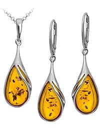 Amber Sterling Silver Drop Pendant Leverback Earrings Set Rolo Chain 46cm