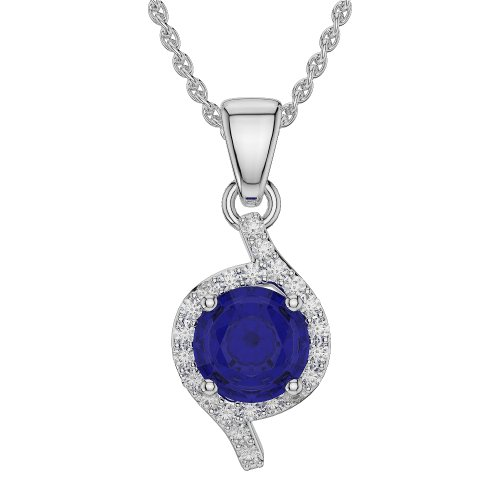 Or blanc/or/Rose/Jaune/Or/Platine forme ronde Saphir et Diamant Collier agdnc-1076-vsgh
