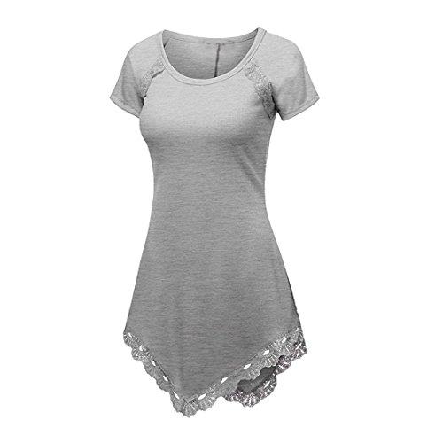 HARRYSTORE Asymmetrische Hem Bluse Plus Größe Sommer Damen Kurzarm Lace T-Shirt Lässige Unregelmäßige Bluse Shirt Tops (Grau, M) (Top Ribbed Tank Knit)