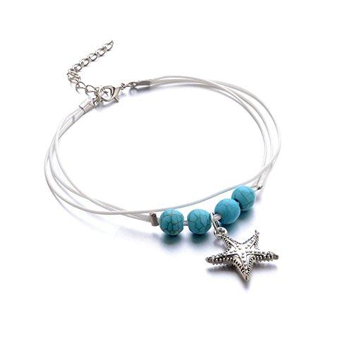 Bangle009Boho Multistrato Sea Star Pendente Perline cavigliera Regolabile Donne Gioielli Braccialetto