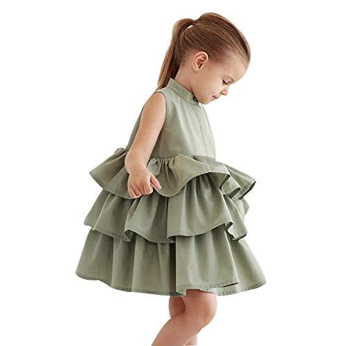 Kobay-baby Mädchen Kuchen Partykleid ärmellose gekräuselte Tutu Blase Kleid(4-5T,Schwarz)