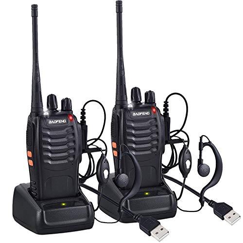 LINN Funkgeräte Set, BF-888s Walkie Talkie 16 Kanäle Sprechfunkgerät Funktelefon in beiden Richtungen,Funksprechgerät Eingebauter LED-Taschenlampe mit USB Anschluß und Headset(1 Paar)