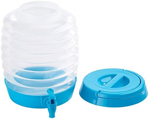 PEARL Wasserkanister: Faltbares Fässchen, Auslaufhahn, Ständer, 5,5 Liter, blau/transparent (Wasserkanister faltbar)
