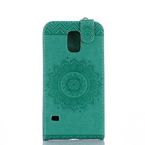 Étui en cuir PU pour Samsung Galaxy S5 Mini,Vertical Pliable Rabat Shell pour Samsung Galaxy S5 Mini,Galaxy S5 Mini Flip Cover,Ekakashop Etui avec Motif de Gris Mandala Retro Tendance Style Portable C Vert