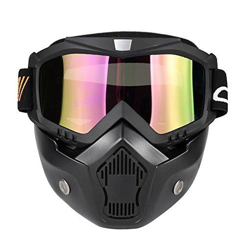 KKmoon Moto Maschera Staccabili Occhiali e Bocca Filtro per Aperto Casco Motocross Sci Snowboard, Nero con Lenti Colorat