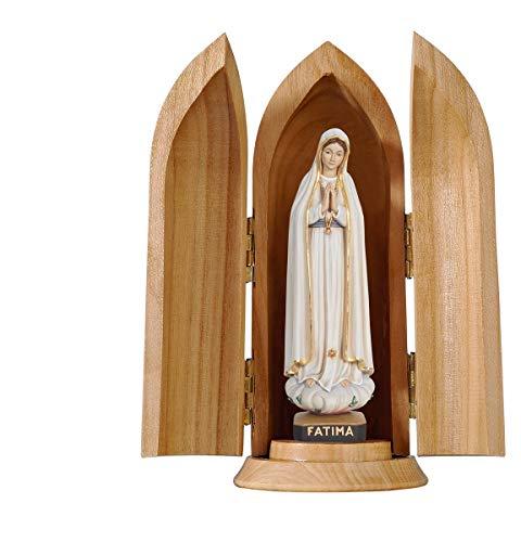 Holzschnitzerei Oswald Amort Madonna Fátima in Nische | 7 cm hoch | Color - Mit Ölfarben bemalt (Fatima-statue)