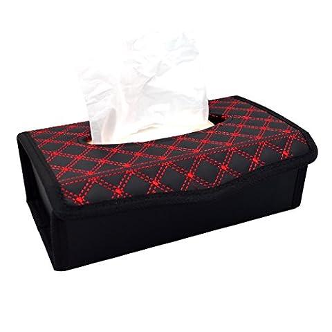 La haute Boîte à mouchoirs Cuir PU pliable de voiture à mouchoirs rectangulaire support pour serviettes de table pour la maison, au bureau, accessoires de décoration de voiture, Cuir, Red, Taille unique