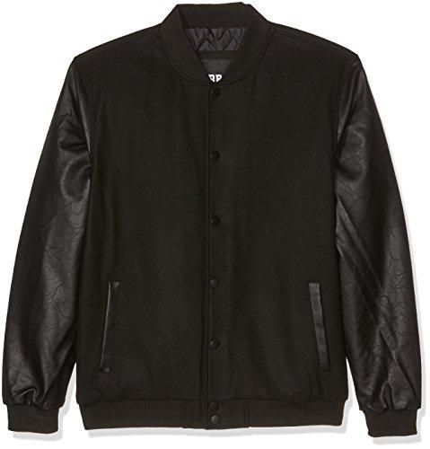 Urban Classics Herren Jacke Oldschool College Jacket Schwarz (Blk/Blk 17)