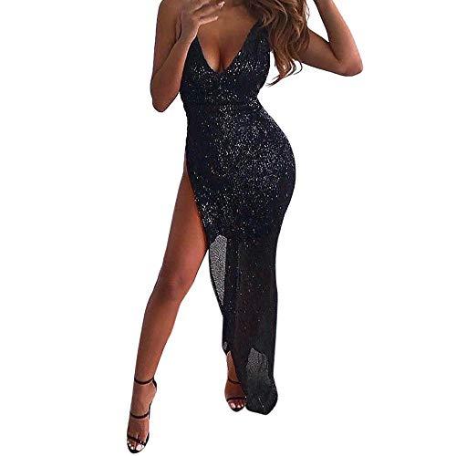 Onceal Frauen Pailletten tiefem V-Ausschnitt ärmelloses, figurbetontes Kleid Abendparty unregelmäßiges Kleid Party langes Damenkleid (L, Schwarz)