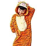 XYY Pyjamas Anime Gymnastikanzug/Fest/Feiertage Tiernachtwäsche Halloween Orange Tiermuster Druck Für Mann Frau Kind Unisex, Orange, 140cm