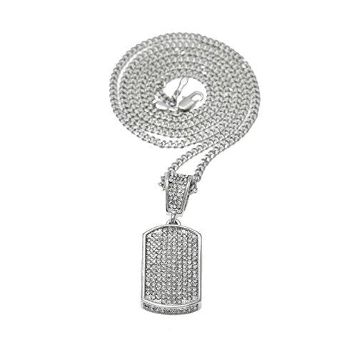 � Vergoldet Herren Kette Silber Zirkonia Rechteck Anhänger Halskette Silber für Männer Panzerkette Lange 60 CM (Anzüge Für Zierliche Männer)