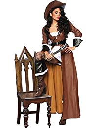 High Quality Pirate Costume Carnival Outfit Includes Coat, Dress, Hat, Set of 8Sabre–Size S–XXL (12633)