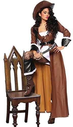 Pirat Kostüme Braun Stiefelstulpen Erwachsene (Hochwertiges 8-tlg. Piraten-Kostüm - Karneval Outfit inkl. Mantel,Kleid,Hut,Säbel u.a. - Gr. S - XXL (12633))