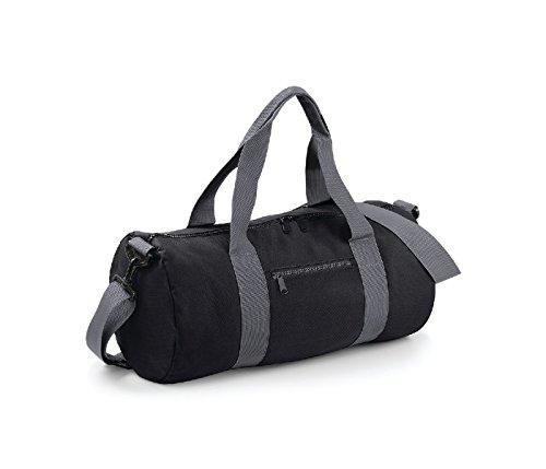 Bag Base–Borsa da viaggio in tela 20L–bg140–Varsity Barrel Bag–colore verde Kelly Black Grey