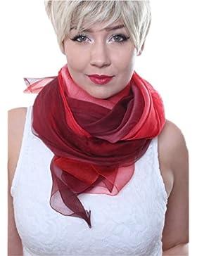 Prettystern - tie-dye di 2 strati sciarpa luce 100% seta e lana con i grandi sguardi - selezione di colore