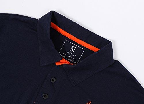 Glestore Homme Polo Golf Manche Courte Couleur Contrasté Shirt Giraffe (L, Grey)