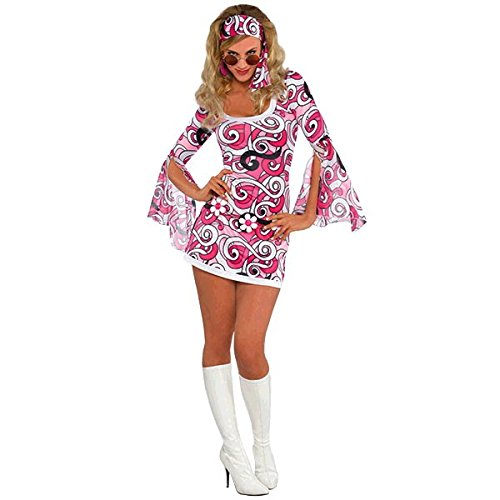 Psychedleic Dress Costume with Headscarf. Sizes 8 to 16