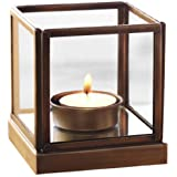DreamKraft Mirage Glass Iron Tea Light Candle Holder For Christmas New Year Decoration And Home Decor (10.5 X 10.5 X 10.5 Cm)