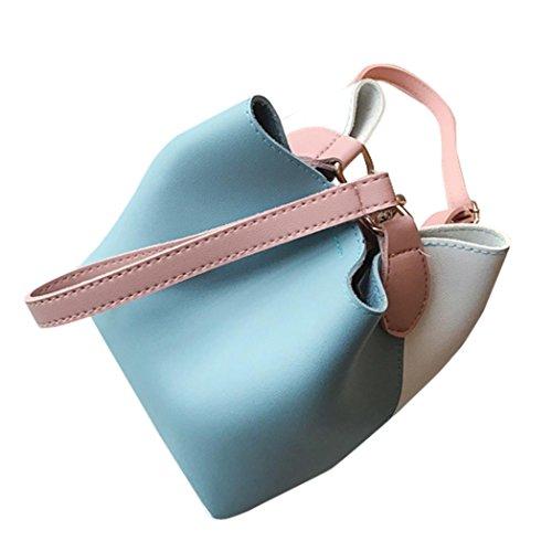 Longra Borsa portatile diagonale sacchetto di secchio di cuoio dell'unità di elaborazione delle donne Blu