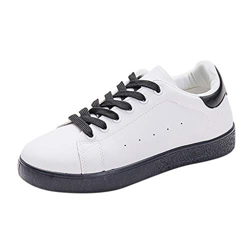 Yvelands Damen Candy Farbe Breathable Outdoor Flat Round Toe Einzelne Freizeitschuhe Sneaker Turnschuhe (Black,39)
