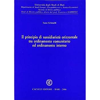 Il Principio Di Sussidiarietà Orizzontale Tra Ordinamento Comunitario Ed Ordinamento Interno