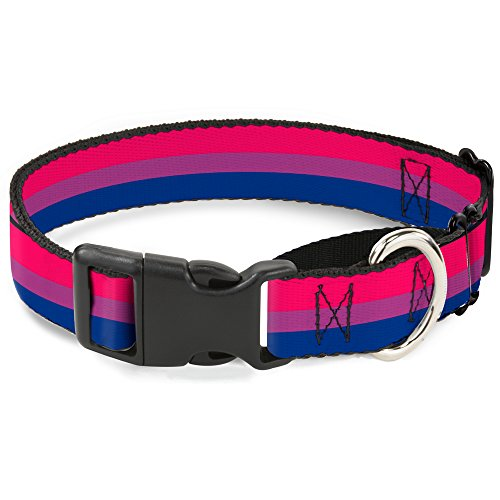 "Buckle-Down Flag Bisexual Pink/Purple/Blue Martingale Dog Collar, 1"" Wide-Fits 15-26"" Neck-Large"