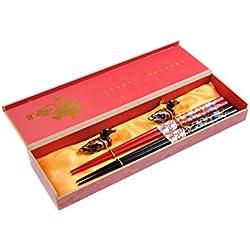 """Abacus Asiatica Basic: set palillos chinos hechos de bambú, diseño """"Grulla voladora"""", viene en una sencilla caja de regalo (2 pares de palillos), Mod. CBR-S2-R-GH02 (DE)"""