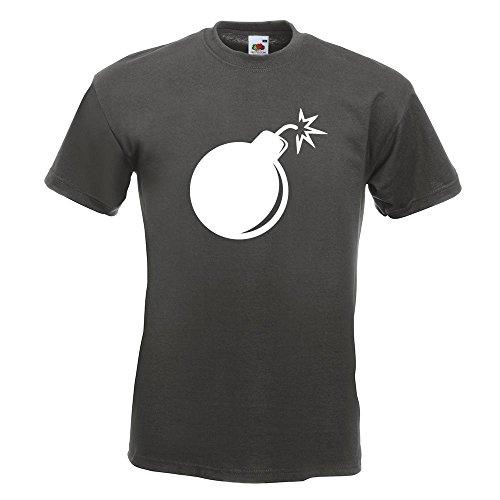KIWISTAR - Bombe mit Zündschnur T-Shirt in 15 verschiedenen Farben - Herren Funshirt bedruckt Design Sprüche Spruch Motive Oberteil Baumwolle Print Größe S M L XL XXL (Print Bomben T-shirt)