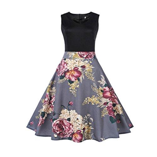 OVERDOSE Damen Blumen Vintage 1950er Ärmellos Casual Abend Partei Abschlussball Schwingen Kleid Cocktailkleid Rockabilly Kleid(A-Gray,EU-40/CN-L)