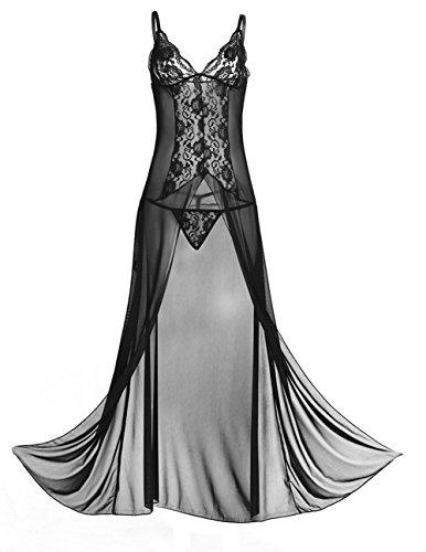 YiZYiF Damen Reizwäsche Offener Schritt Dessous Set Lange Kleid mit G-String Erotik Tief V Nachtkleid Frauen Babydoll M-3XL Schwarz XXXL