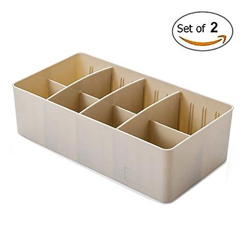 SFGHOUSE Set of 2 Adjustable Drawer Dividers Storage Boxes Organiser