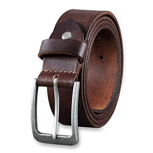 STILORD Cinturón de Cuero para Hombre de Búfalo Robusto Correa para Vaqueros con Hebilla de Espina Vintage 34mm, tamaño:85, Color:cresto - marrón | hebilla antico - argento