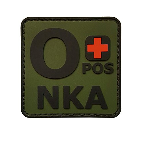 2AFTER1 Olive Drab OPOS O+ NKA OD Blood Type No Known Allergies Morale PVC Rubber Fastener Patch - Blood Type Patches